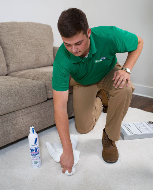 Chem-Dry of CSRA Technician Providing Specialty Stain Removal in Aiken