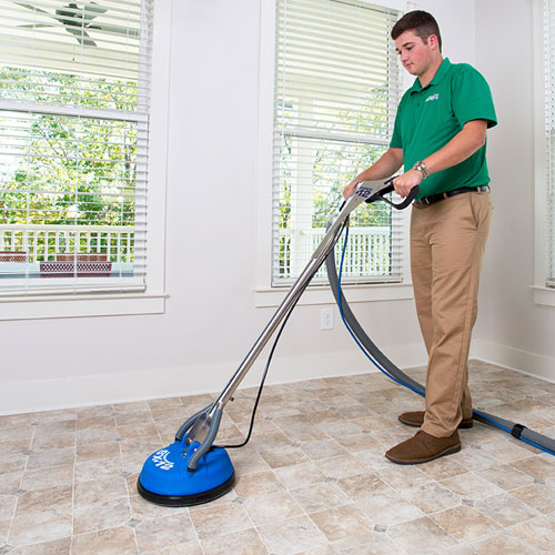 Chem-Dry of CSRA Technician Cleaning Tile and Stone in North Augusta
